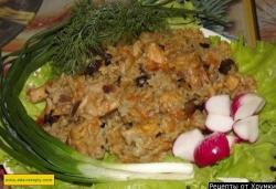 Рисовая каша с грибами и мясом