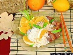 Рецепт Свинина жареная с рисом и апельсинами с фото