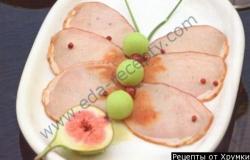 Рецепт Бабочка из свинины с дыней инжиром и гренками с фото