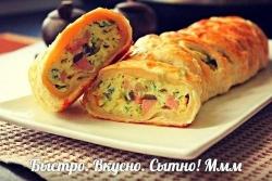 Кулинарный рецепт Яичница-болтунья в слоеном тесте с фото