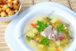 Кулинарный рецепт Летний овощной суп с курицей с фото