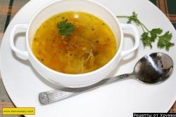 Суп лапша с куриными потрошками