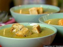 Кулинарный рецепт Грибной суп с сырными гренками с фото