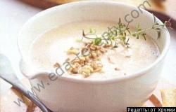 Рецепт Грибной крем-суп с чесночными гренками с фото