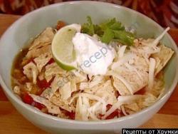 Кулинарный рецепт Острый суп с сыром и чипсами с фото