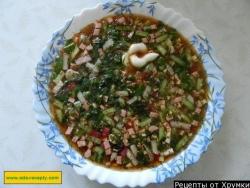 Окрошка классическая с колбасой на квасе воде рецепт с фото