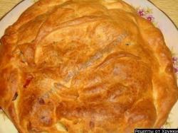 Кулинарный рецепт Слоеный пирог с курицей с фото