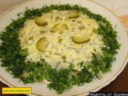 Салат курица соленые огурцы майонез