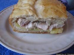 Кулинарный рецепт Пирог с картошкой и курицей с фото