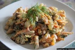 Салат фасоль курица сухарики рецепт с фото