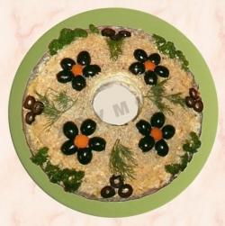 Салат Кабриолет курица грибы жареные