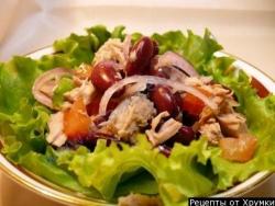 Кулинарный рецепт Салат из курицы с фасолью с фото