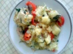 Рецепт Капуста тушенная с картошкой и курицей в казане с фото