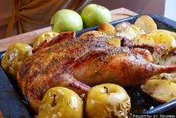Кулинарный рецепт Утка с яблоками с фото