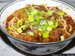 Кулинарный рецепт Лагман по узбекски с фото