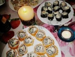 Суши Golden Masago Maki, Sesame Tomago maki, Tomago Еbi maki