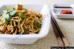 Кулинарный рецепт Лапша яичная жареная с овощами с фото