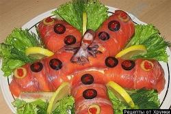 Салат семга с помидорами Морская звезда