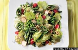 Рецепт Зеленый салат с фасолью горохом и блинчиками с фото