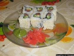 Кулинарный рецепт Роллы урамаки (рисом наружу) с фото