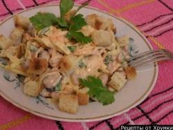 Салат с фасолью и сухариками рецепт с фото