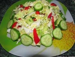 Овощной салат пекинская капуста огурец