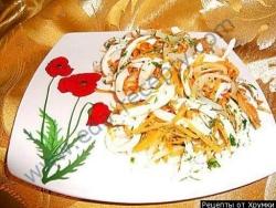 Кулинарный рецепт Салат с кальмарами и морковью с фото