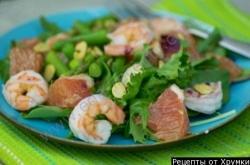 Кулинарный рецепт Салат из спаржи с креветками с фото