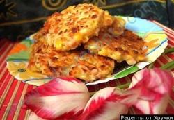Кулинарный рецепт Оладьи из тыквы с колбасой с фото