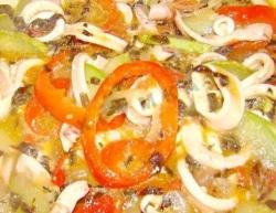 Кулинарный рецепт Жареные кальмары с овощами с фото