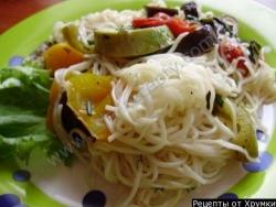 Лапша кукси с запеченными овощами
