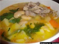 Кулинарный рецепт Фасолевый суп с мясом с фото