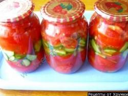 Рецепт Консервированный салат из помидоров и огурцов на зиму с фото