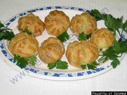 Кулинарный рецепт Профитроли с начинкой с фото
