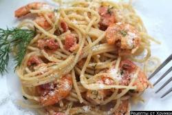 Кулинарный рецепт Макароны с креветками с фото