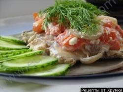 Рецепт Скумбрия запеченная с помидорами черри с фото