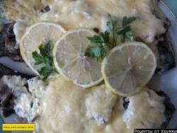 Кулинарный рецепт Судак, запеченный с шампиньонами с фото