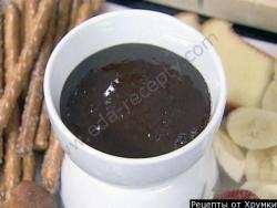 Кулинарный рецепт Шоколадно-апельсиновое фондю с фото