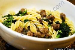Кулинарный рецепт Макароны по-флотски с брокколи с фото