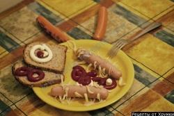 Кулинарный рецепт Червяки-спагеттины в сосисках с фото