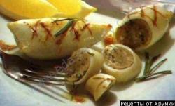 Кулинарный рецепт Кальмары, фаршированные рыбой с фото