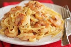 Кулинарный рецепт Паста фетучини с креветками с фото