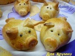 Кулинарный рецепт Пирожки Румяные Хрюшки с фото