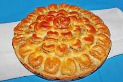 Кулинарный рецепт Мясной пирог Хризантема с фото