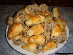 Кулинарный рецепт Полукруассаны с шоколадом с фото
