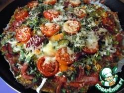 Диетическая пицца с овощами, ветчиной и сыром