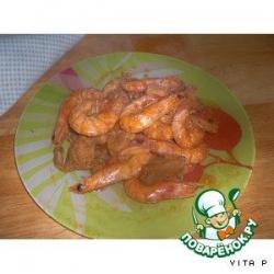 Мясо с креветками
