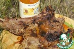 Стейк из телятины на ребрышке в соевом и сладком соусе чили