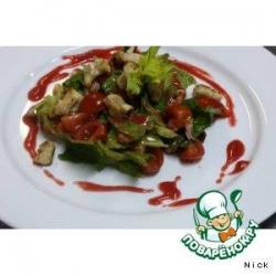 Салат из кролика и раковых шеек под малиновом винегретой
