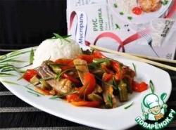 Язык с овощами по-китайски
